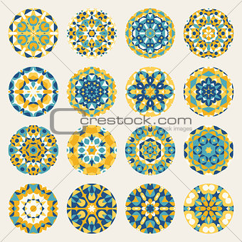 Set of Sixteen Round Blue Yellow Mandala kaleidoscope Geometric Ornaments Circles