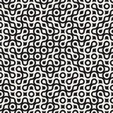 Vector Seamless Black and White Circles Rounded Maze Halftone Truchet Pattern