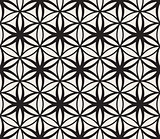 Vector Seamless Black and White Flower of Life Sacred Geometry Circle Pattern