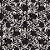 Vector Seamless Black and White Optical Art ZigZag Rays Round Circles Pattern