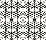 Vector Seamless Black and White Rounded Hexagon Lines Lace Pattern