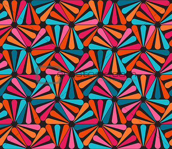 Vector Seamless Pink Blue Orange Rounded Triangle Lines Color Pattern