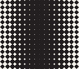 Vector Seamless Black and White Morphing Star Halftone Grid Gradient Pattern Geometric Background