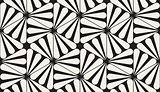 Vector Seamless Black and White Rounded Rays Hexagonal Pattern