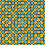 Vector Seamless Blue and Yellow Rounded Circle Maze Dashed Line Truchet Pattern