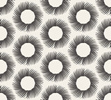 Vector Seamless Black and White Geometric Hand Drawn Circle Rays Line Pattern