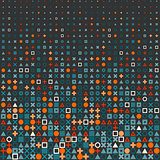 Vector Circle Square Cross Shapes Halftone Grid Pattern In Red Orange and Blue on Dark Background