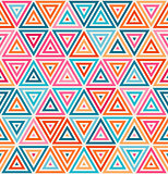 Vector Seamless Pink Orange Blue White Random Color Triangle Lines Grid Geometric Pattern