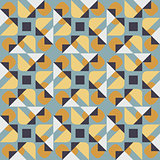Vector Seamless Geometric Square Triangle Circle Shapes Yellow Blue Quilt Pattern