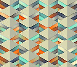 Vector Seamless Gradient Mesh Color Stripes Triangles Grid in Shades of Teal and Orange on Light Background