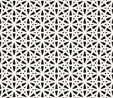 Vector Seamless Black and White Geometric Hexagonal Line Circle Pattern