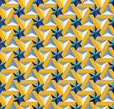 Vector Seamless  Blue Yellow Triangle Star Tiling Pattern