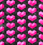 Vector Seamless Geometric Pink Hearts Shapes on Dark Triangle  Polygons Background