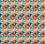 Vector Seamless Geometric Triangle Tiling Pattern in Teal And Orange Colours