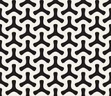 Vector Seamless Black and White Geometric Rounded Tripod Shapes Pattern