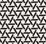 Vector Seamless Black and White Geometric Triangle Star Lines Tiling Pattern