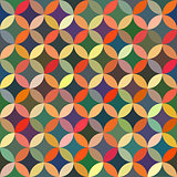 Vector Seamless Colorful Circle Star Quilt Tiling Pattern