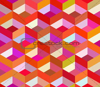 Vector Seamless Colorful Vivid Geometric Blocks Isometric Tiling Pattern