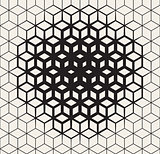 Vector Seamless Black And White  Geometric Cube Shape Lines Halftone Grid Pattern Fading Towards the Center