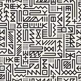 Vector Seamless Black And White Rounded Line Geometric Hipster Signs Pattern