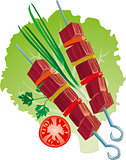 bright juicy kebab vector illustration