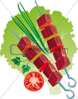 bright juicy kebab vector illustration