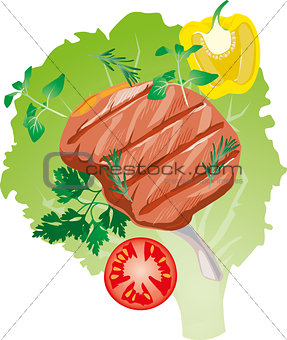 bright juicy grilled  meat on the bone,  a lettuce leaf