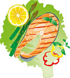 bright juicy grilled fish on a lettuce leaf, vector illustration