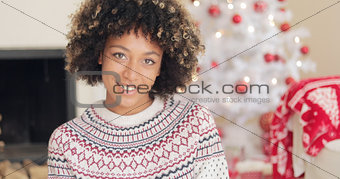 Attractive young woman in Christmas winter fashion