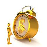 Golden alarm clock and figure. 3D rendering.