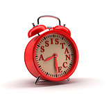 Red Alarm clock. 3D rendering.