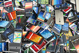 Choose mobile phone. Heap of the different smartphones with diff