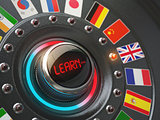 Online learning language concept. Switch knob button with flags.