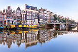Amsterdam canal Singel with dutch houses, Holland