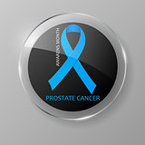 World Prostate Cancer Day button. Blue ribbon.