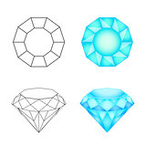 Set diamonds on a white background . Eps 10 Vector illustration