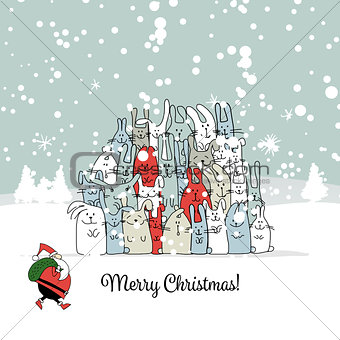 Christmas card with santa and rabbit family