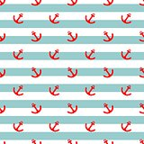 Tile sailor vector pattern with red anchor and mint green and white stripes background