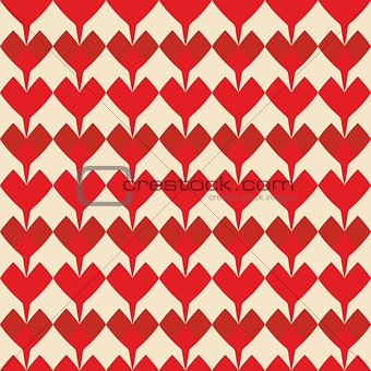Tile vector pattern with red hearts on pastel background