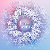 Round snow frame with Merry Christmas text.