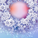 Round snow frame with place for text.