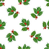 watercolor christmas seamless pattern with holly berries and leaves.season design for print,textile,wrapping paper.