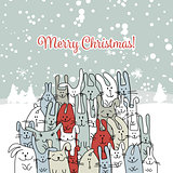 Christmas card with happy rabbit family