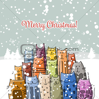 Christmas card with happy cats family