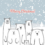 Christmas card with white bears family