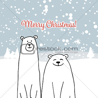 Christmas card with white bears