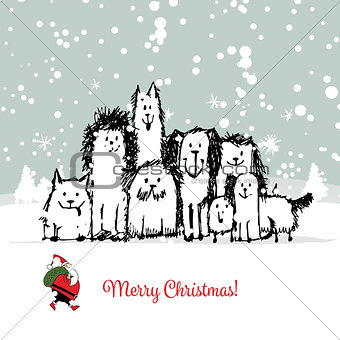 Christmas card with happy dogs family