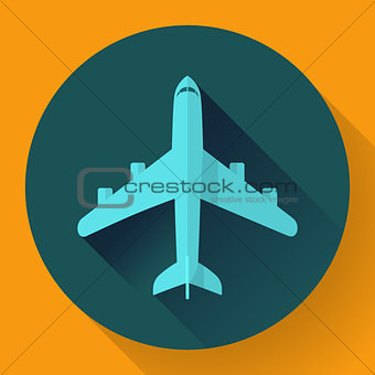 Airplane - vector icon illustration. Flat design style.