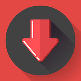 Red prohibited or banned download symbol. Flat design style. Vector