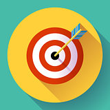 Target marketing icon. with arrow symbol. Flat vector design style.